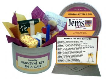 Mother of the bride/groom survival kits - a fun touch to start an emotional wedding day! This includes items such as a puzzle piece because 'You're such an important part of the day', marbles 'For all the ones I've helped you lose' and a watch 'To enjoy every minute of the day'.