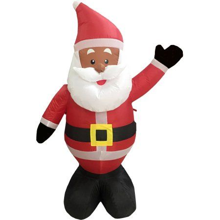 Black African American Santa Claus 4\u0027 Inflatable Airblown Christmas - inflatable christmas yard decorations