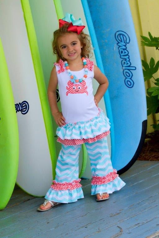 Mint green Chevron and Coral polka dot Emboridered Crab Applique custom boutique clothing 18-24m,  2/3 4/5, 6/6X, 7/ 8,