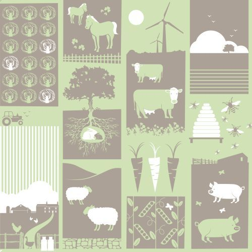 Moo!  Pear Green wallpaper by Mini Moderns