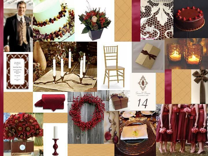 Brown And Gold Wedding Ideas: Cranberry, Gold & Chocolate Brown