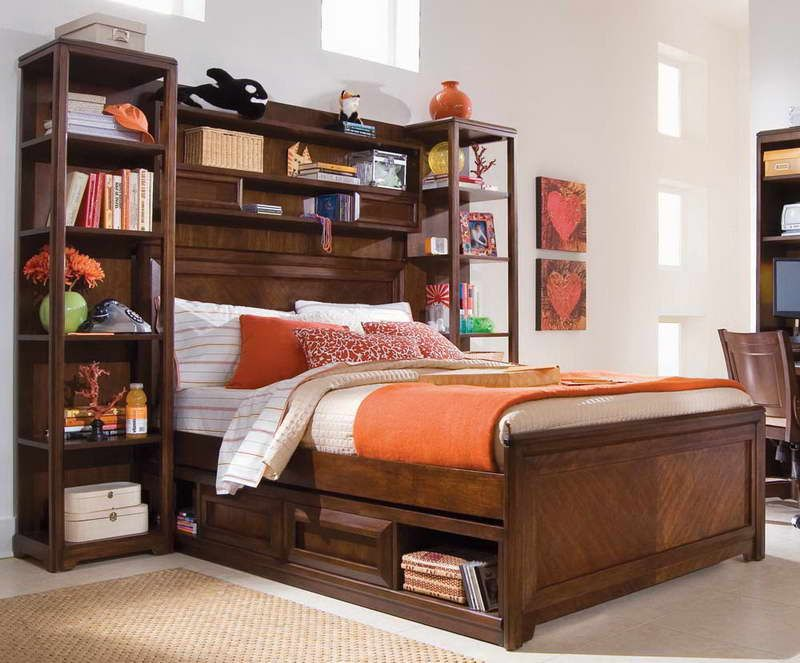 Bedroom Bookcase Headboard Full Size Beds With Storage Bed Platform And Dark Varnished Wood Finishing Design Ideas