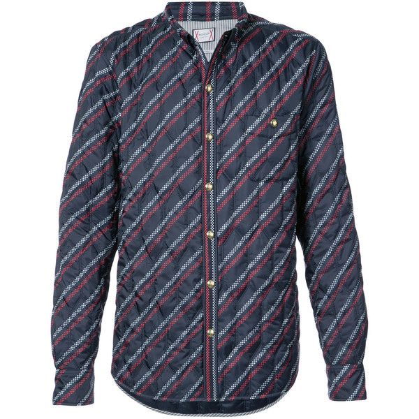 Moncler Gamme Bleu striped quilted shirt (1,640 CAD) ❤ liked on Polyvore featuring men's