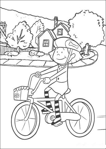 Emily Is Riding Her Cycle Coloring Page Cartoon Coloring Pages