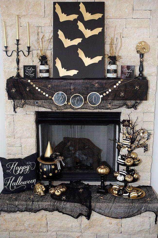 Black u0026 Gold Halloween Mantel Ideas by