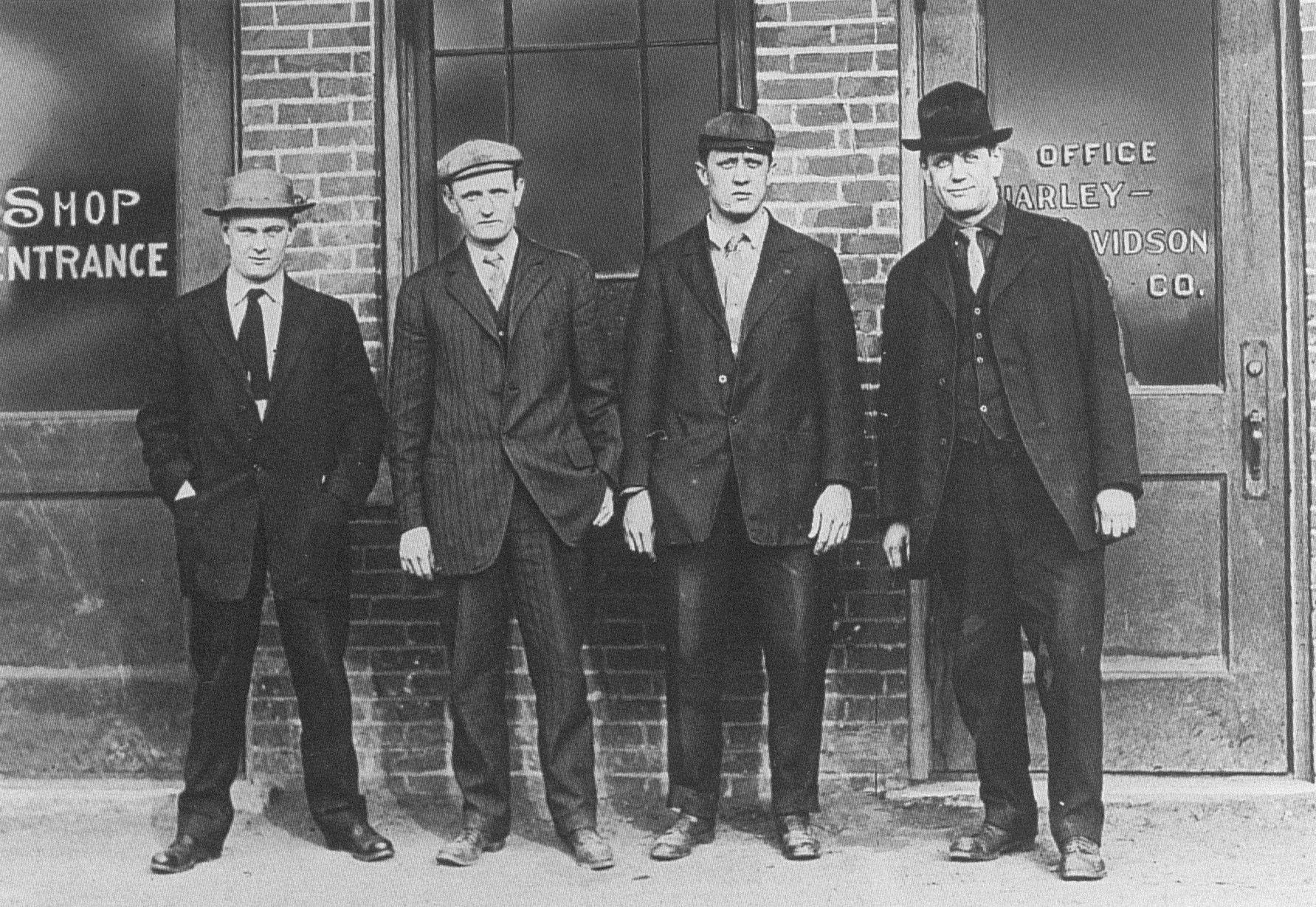 the four harley-davidson founders: arthur, walter, bill h & bill d