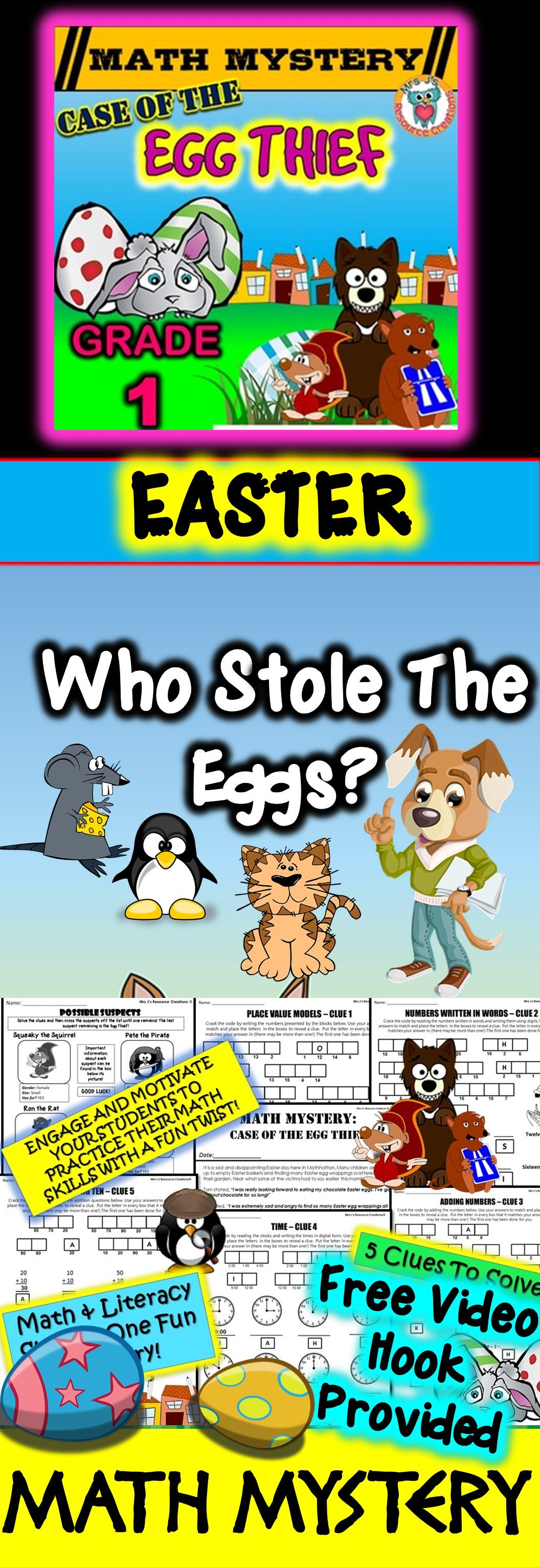 1st Grade Easter Math Mystery Activity Place Value