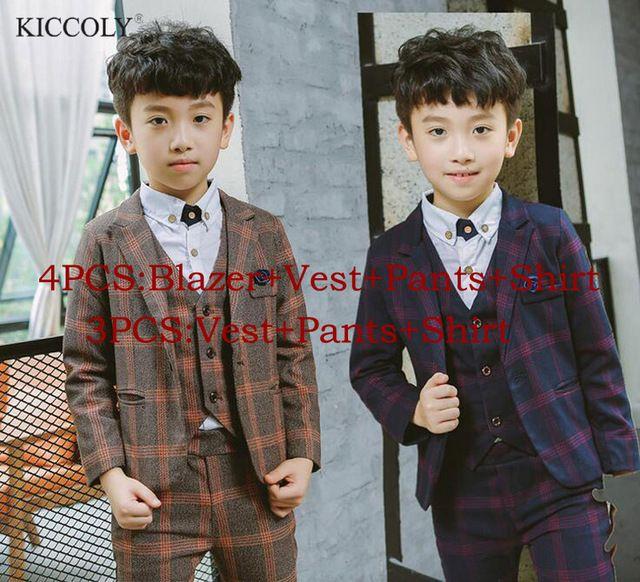 Kids wedding Flower Boy Party Formal dress Suit Jacket+Vest+Pants+Shirt  4PCS
