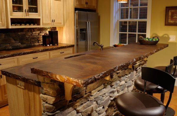 rustic cement countertops | Case for Concrete Counters  (maybe see about sealing a giant slab of granite or some other rock?)