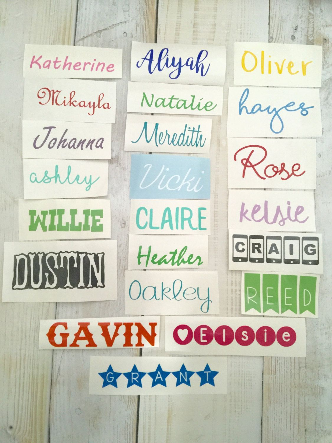 Any name decal personalized custom name sticker vinyl decal free shipping by themonogramhouse on etsy