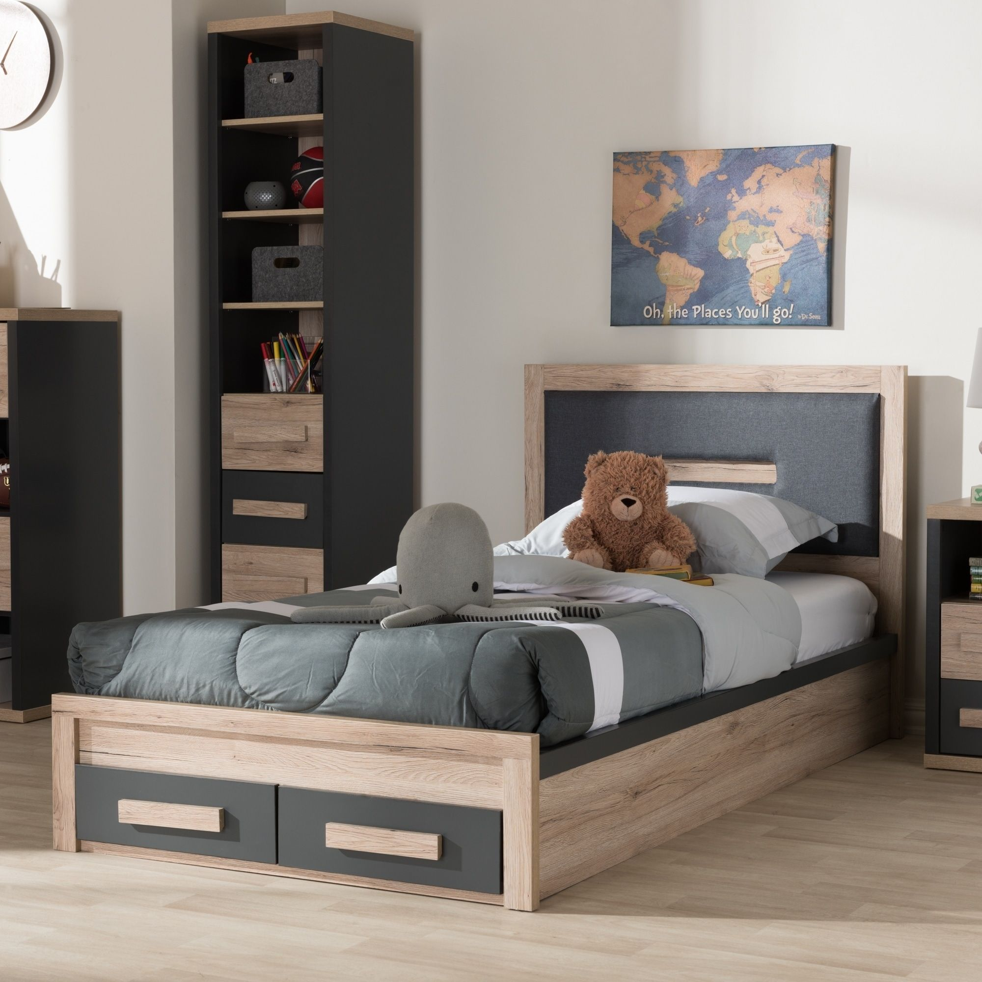 Contemporary Grey and Brown Twin Size Storage Bed by