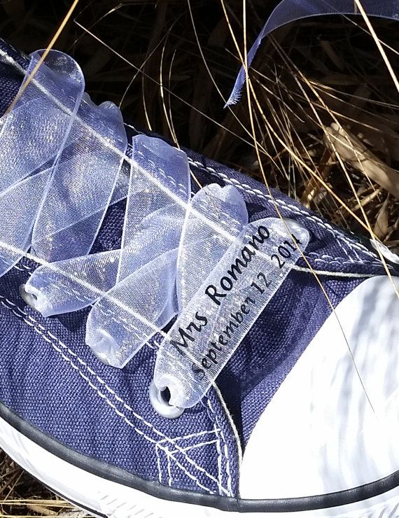 3a90c3d886b Custom Wedding Converse Ribbon Laces Nylon - Personalized Bride Groom  Wedding Ribbon - Bridal Shoe Ribbon - Printed Ribbon by Bandana Fever