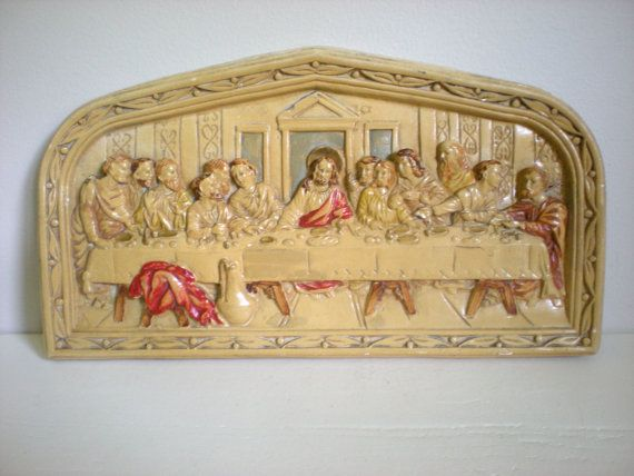 LARGE Chalkware Wall Hanging ~ The Last Supper ~ Religious Art ...
