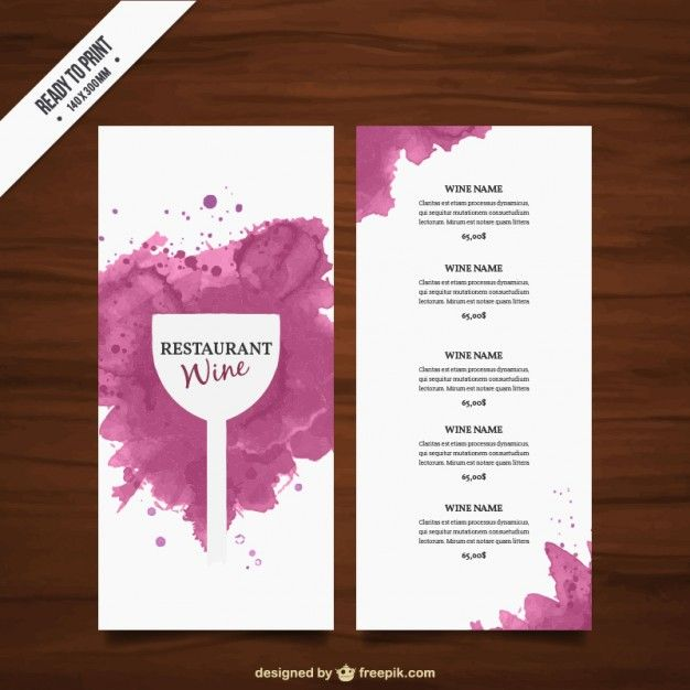 Wine list template Free Vector vinho Pinterest Wine - free wine list template