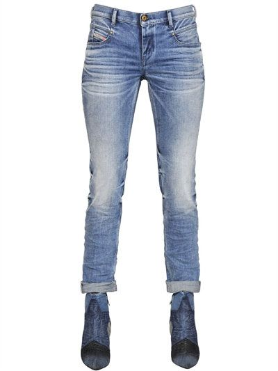 DIESEL Belthy Tapered Cotton Denim Jeans, Blue. #diesel #cloth #jeans