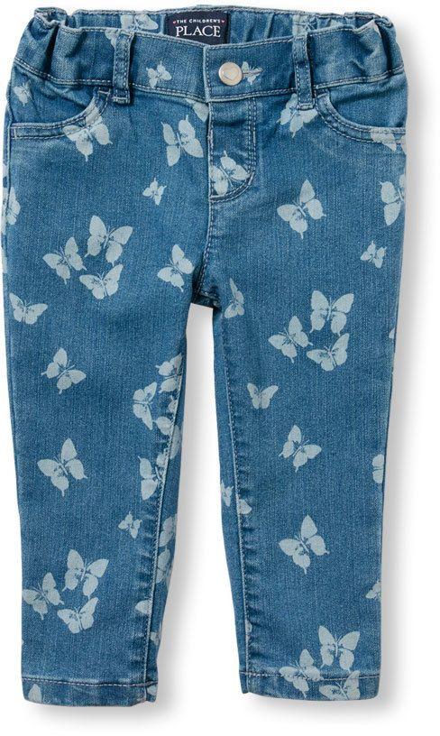 08fa8430c47c6 Toddler Girls Butterfly Print Knit Denim Jeggings Baby Girl Bottoms,  Toddler Girl Outfits, Toddler
