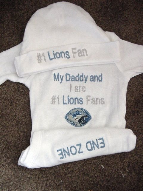 0b07ed43508d4 Personalized Detroit Lions fan Football Baby Infant Newborn Creeper ...