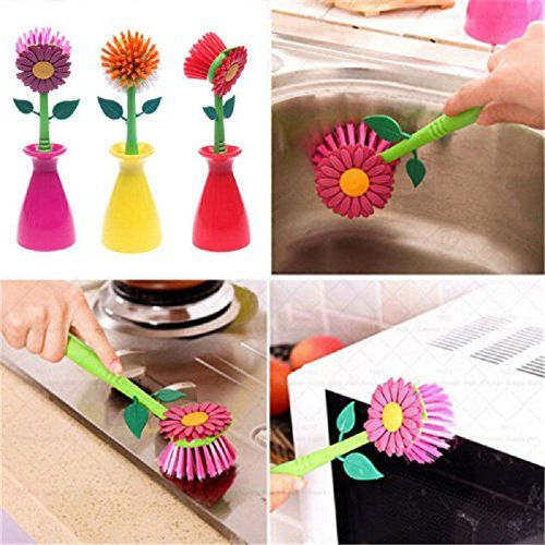 YOHEE Sun Flower Shaped Cleaning Brush Pan Pot Dish Washing Brushes For Kitchen Cleaning Tool Yellow