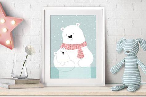 Polar Bear Nursery Decor Art