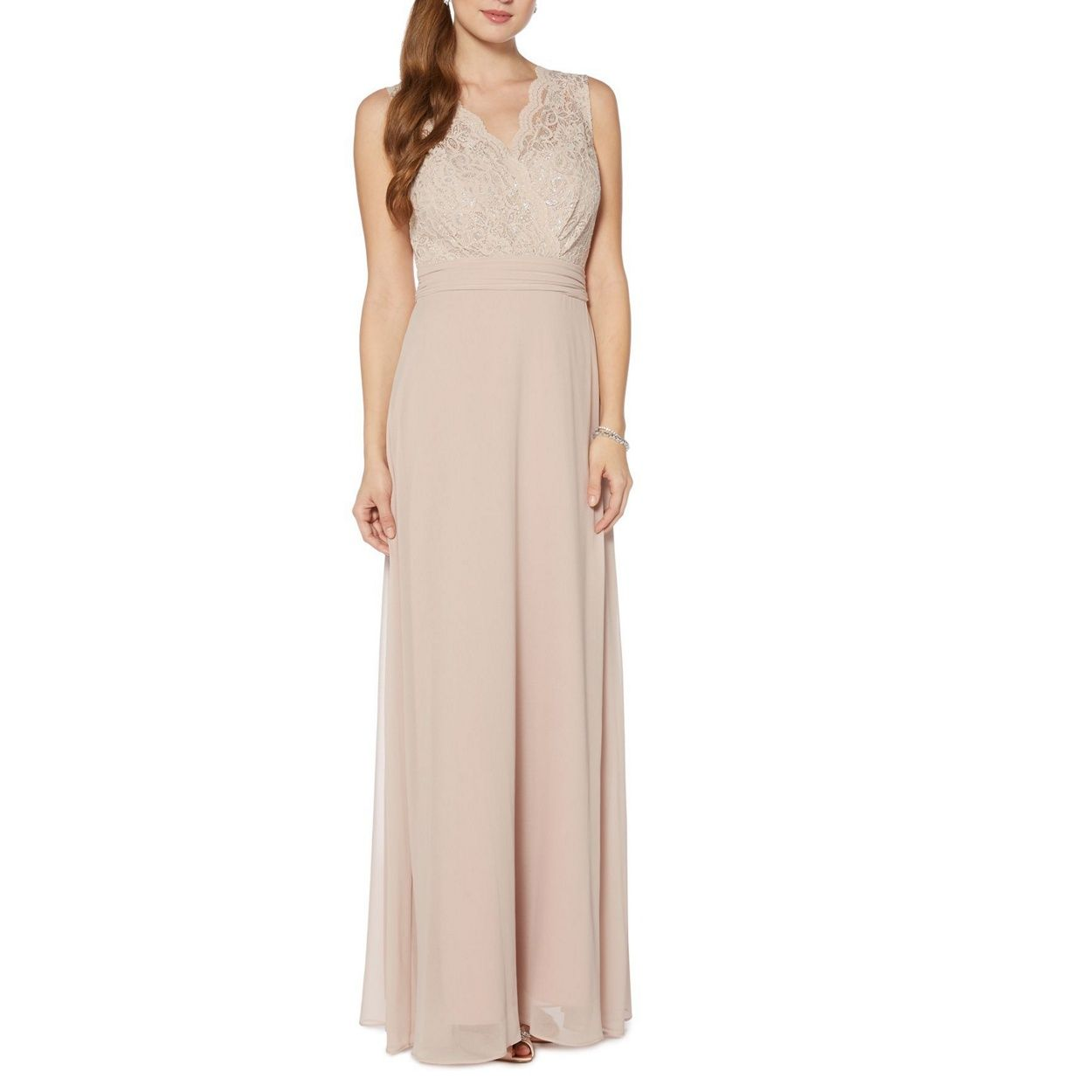 Debut Gold lace maxi dress- at Debenhams.com