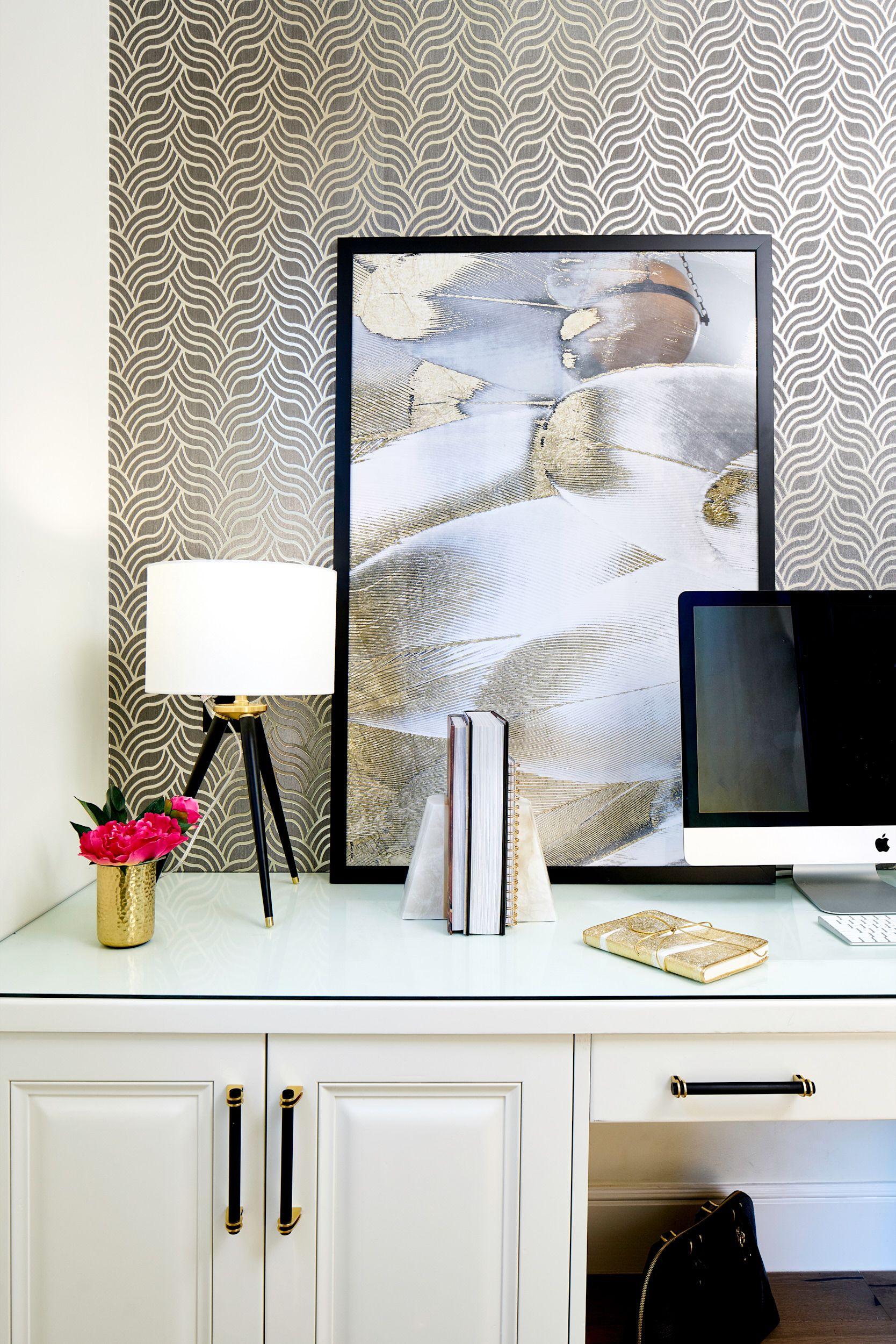 Black White And Gold Transitional Kitchen With European White Oak Floors Kitchen Desk Area European White Oak Floors Wallpaper Accent Wall White Oak Floors