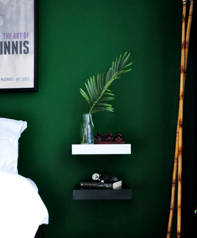 Gentil Bedroom Reveal: Dramatic, Moody Bedroom, Dark Green Walls, Simple  Nightstands
