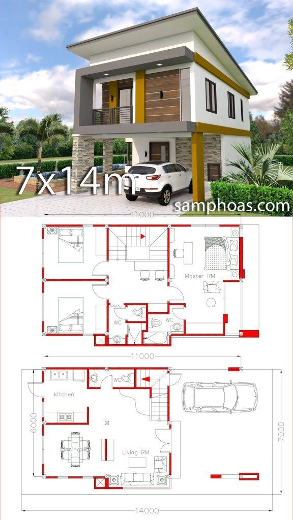 Small Home Design Plan 6x11m With 3 Bedrooms Samphoas Plan In 2020 Small House Design Duplex House Plans Simple House Design