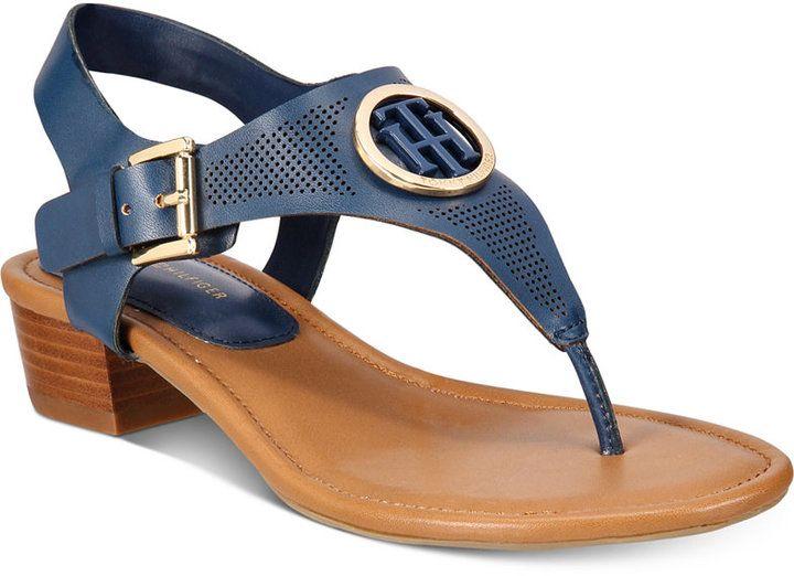 5c5639125a87 Tommy Hilfiger Kandess Block-Heel Thong Sandals Women s Shoes ...