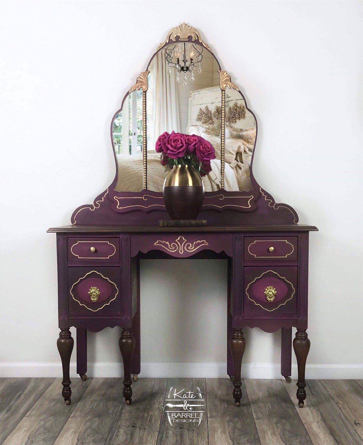 Vintage Makeup Vanity In Merlot Purple And Gold Makeup Vanity Decor Vanity Decor Vintage Makeup Vanities