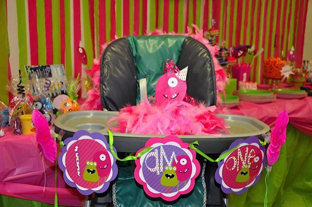 Monster party. Girls first birthday.