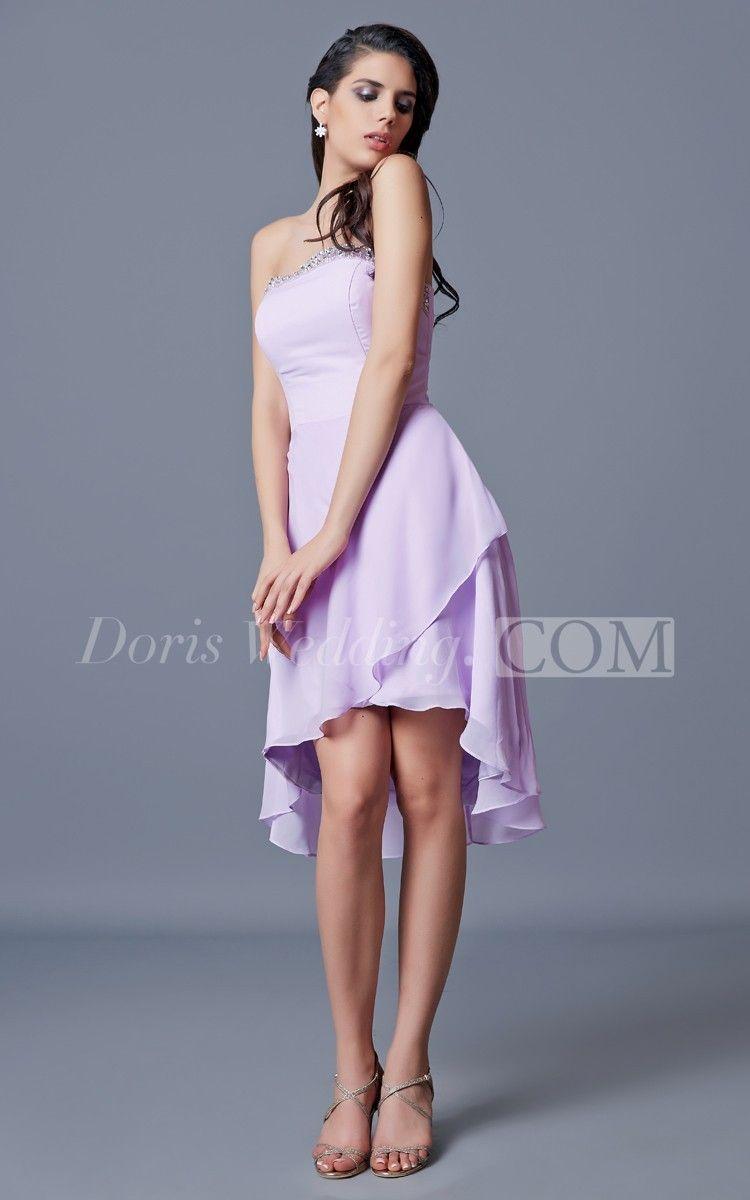 Strapless aline short chiffon dress with draping short chiffon