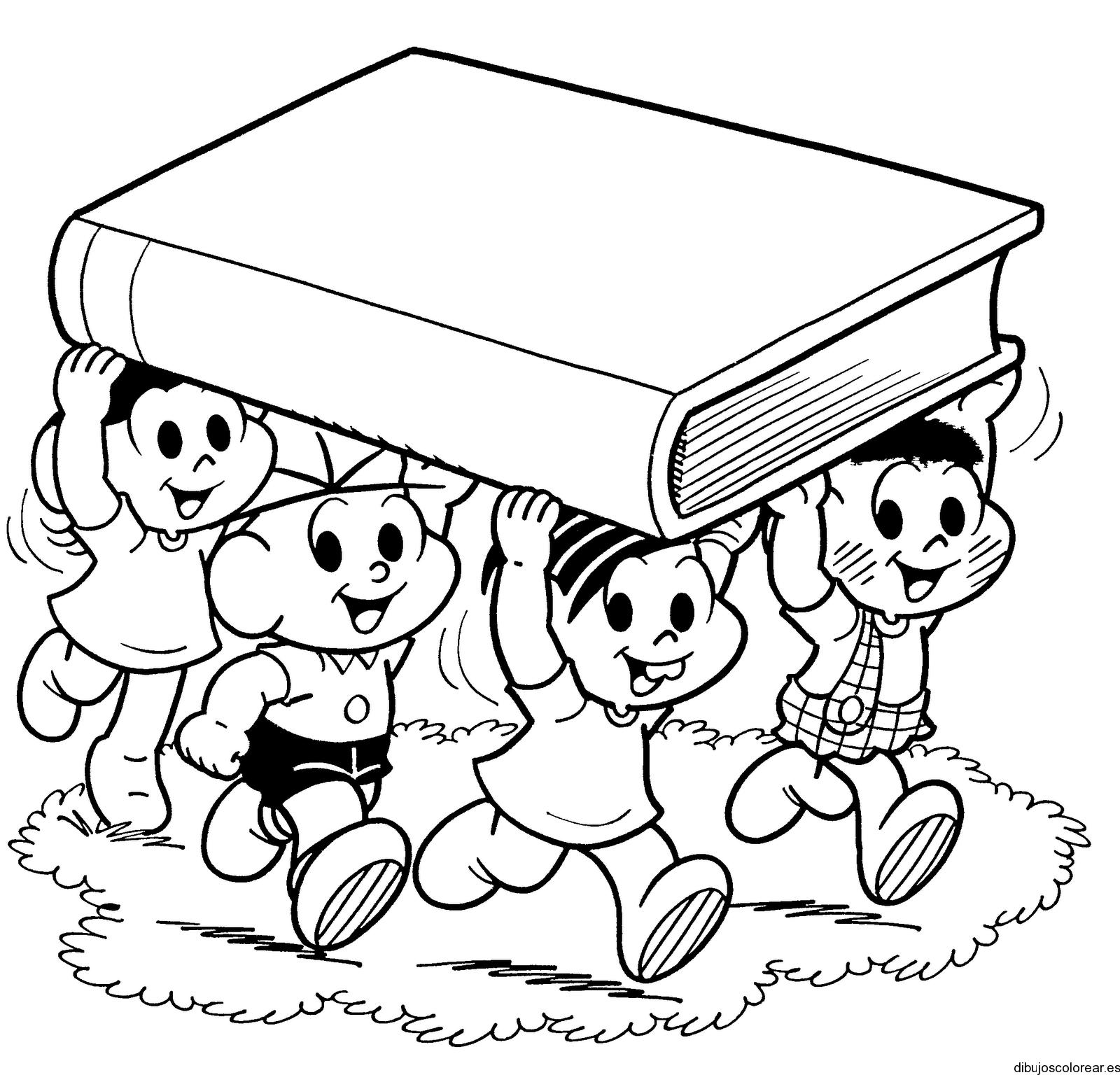 dibujos de niños con libros para colorear   Buscar con Google