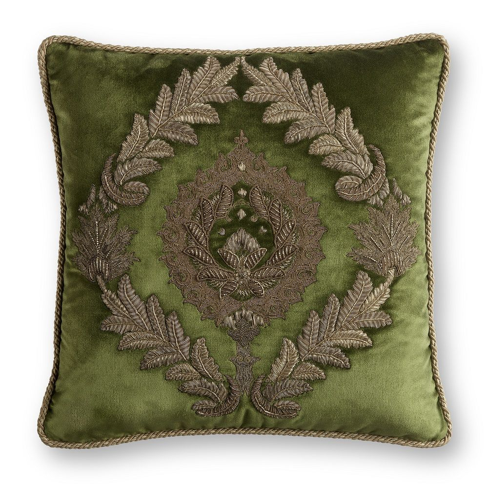 Couture Cushion: Rossini on Capri in Georgian Green. As seen at Decorex 2016.