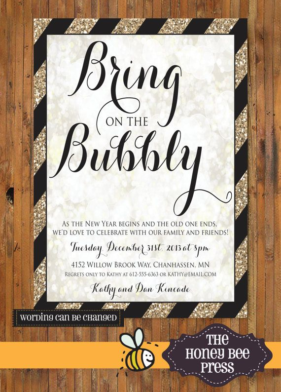 bring on the bubbly new years eve party invitation by thehoneybeepress