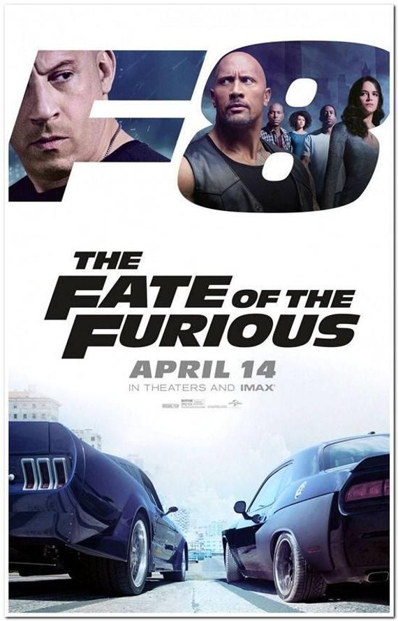 FATE of THE FURIOUS - 2017 - Original 27x40 Movie Poster - Vin Diesel, The Rock, Jason Statham, Michelle Rodriguez - Advance Style B