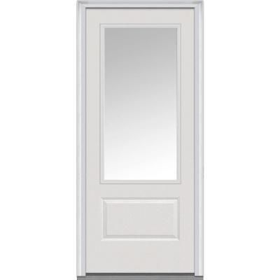 Mmi Door 36 In X 80 In Clear Right Hand 3 4 Lite 1 Panel Classic Primed Fiberglass Smooth Prehung Front Door Z000370r The Home Depot Exterior Doors With Glass Steel Doors Exterior Mmi Door