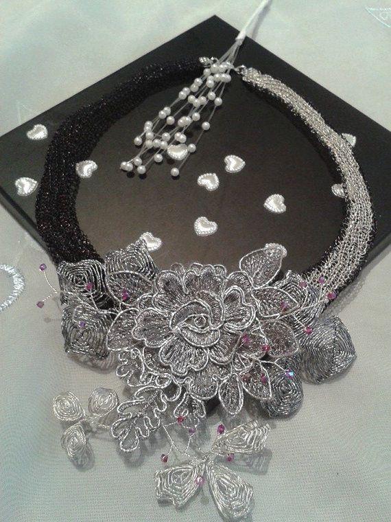 Halskette aus gehäkeltem Draht mit Ganutell und von BeadStArt ...