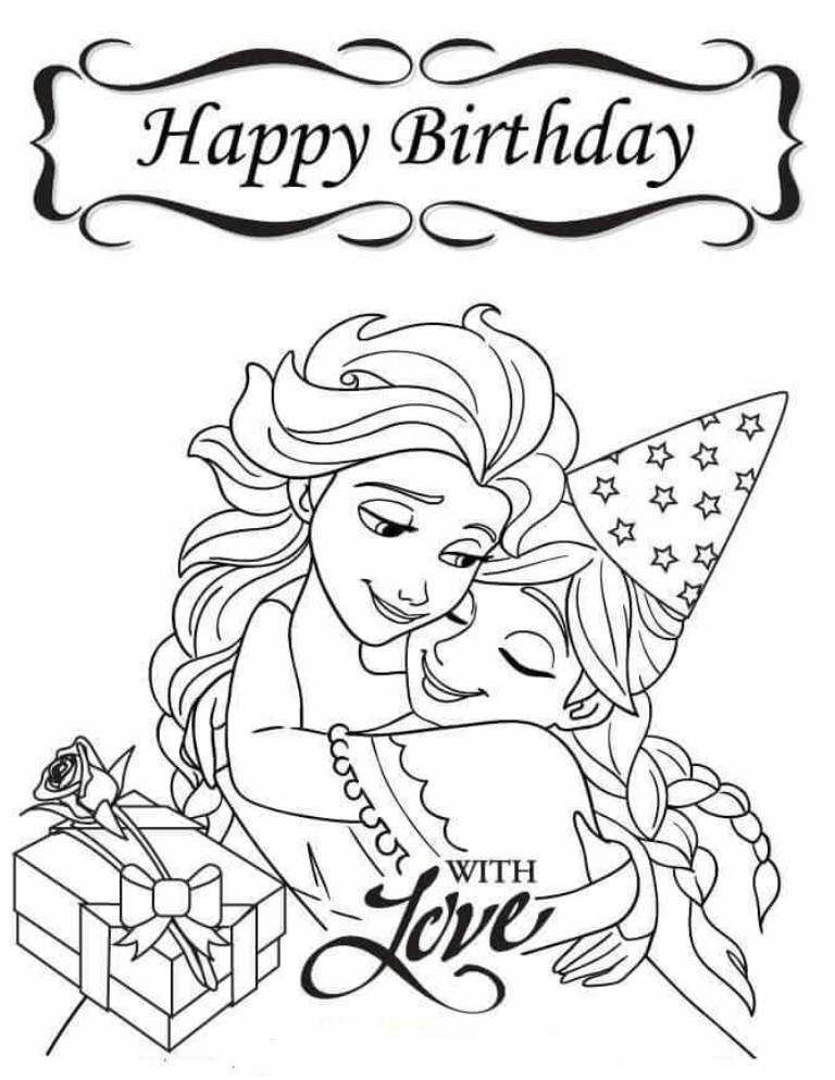 Frozen Sister Coloring Pages Frozensistercoloringpages Frozencoloring Happy Birthday Coloring Pages Birthday Coloring Pages Frozen Coloring Pages