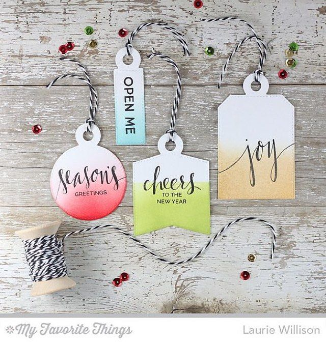 These gorgeous tags from @laurie_willison feature ink blending that is reminiscent of the trendy #dipdye technique that is so popular in fashion and crafting right now. The gorgeous greetings are from the Hand Lettered Holiday stamp set. #gifttags #packaging #stamping