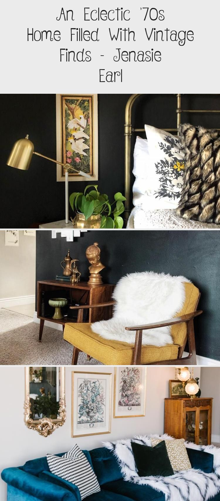 Great guest room. An Eclectic '70s Home Filled With Vintage Finds - Jenasie Earl | Dark decor bedroom styled with vintage mirrors and lighting to create an asymmetrical arrangement to create more interest. #bedroomdecor #bedroomideas #eclecticbedroom #eclecticdecor #eclecticinteriors #interiorinspo #interiordesign #homedecor #mirrors #vintagedecor #housetour #bedroomdesign #darkdecor #vintagebedroom #interiordecor #eclectichome #bedroomdecorForYoungAdults #Traditionalbedroomdecor #bedroomdecorDI
