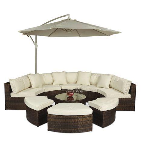 Monaco Large Rattan Semi Circle Sofa Set