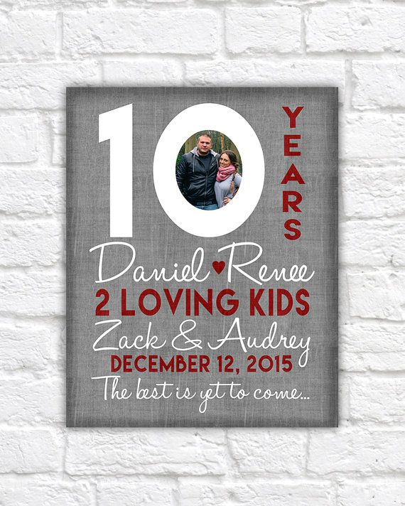 10th Wedding Anniversary Gift 10 Year Anniversaries Customized With Photo Kid Name