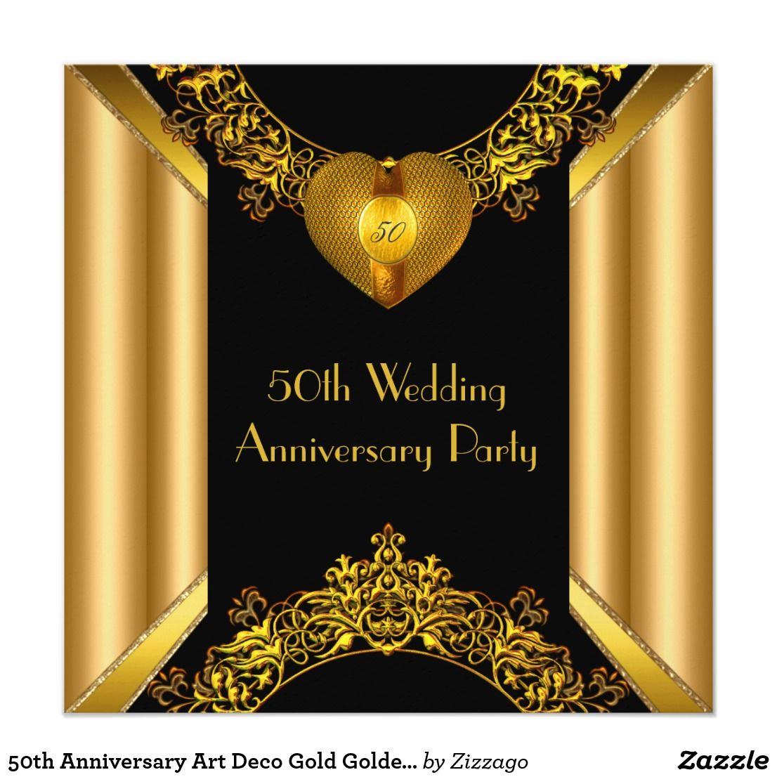 50th Anniversary Art Deco Gold Golden Heart 2