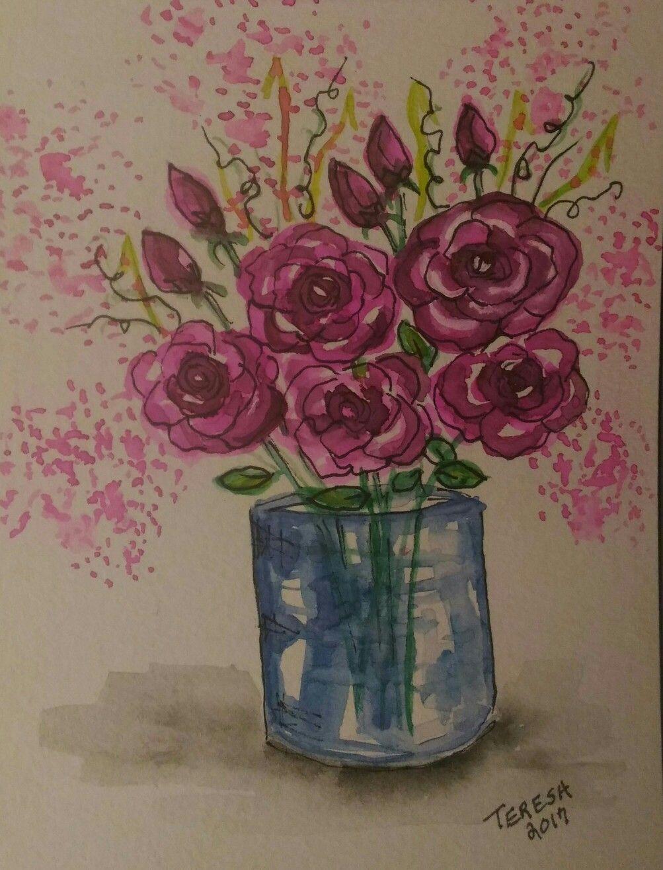 Watercolor card by teresa