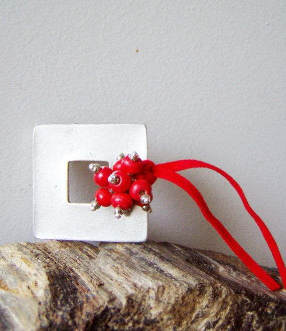 Silver square brooch with red beads bouquet by AkatosCollectibles, $23.50