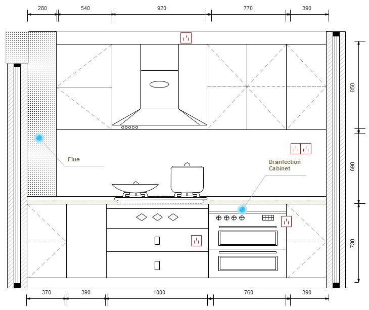 Symbole für Küchenplan Grundriss, Bauplan, Planer