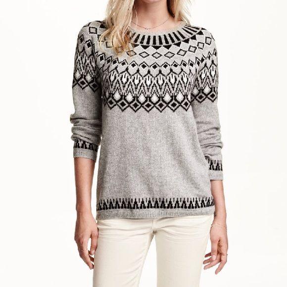 H&M Gray Black Fair Isle Argyle Pullover Sweater NWT | Alpaca wool ...
