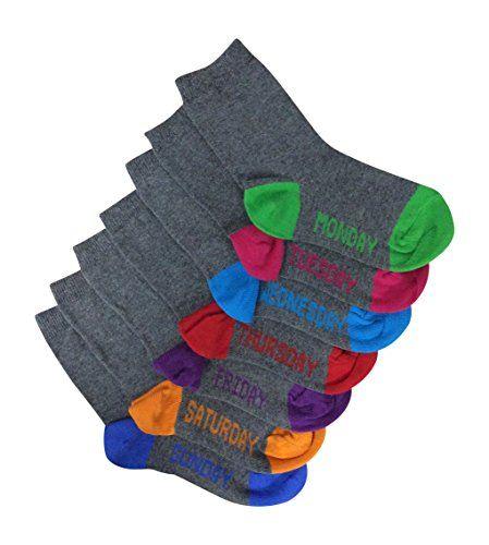 Days Of The Week Socks 7 Pairs Kids Grey School Socks Days Of The Week 3 6 Years 8 13