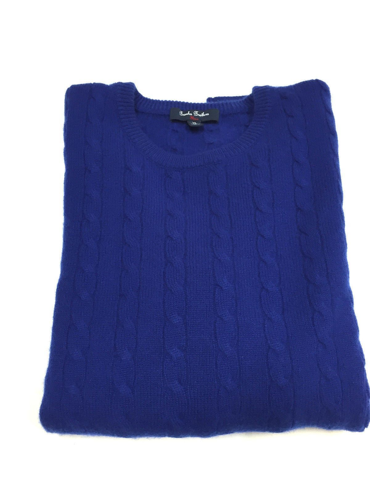 BROOKS Bros. Fleece Royal-Blue Cable-Knit Cashmere Men's Crewneck Sweater Size: XL