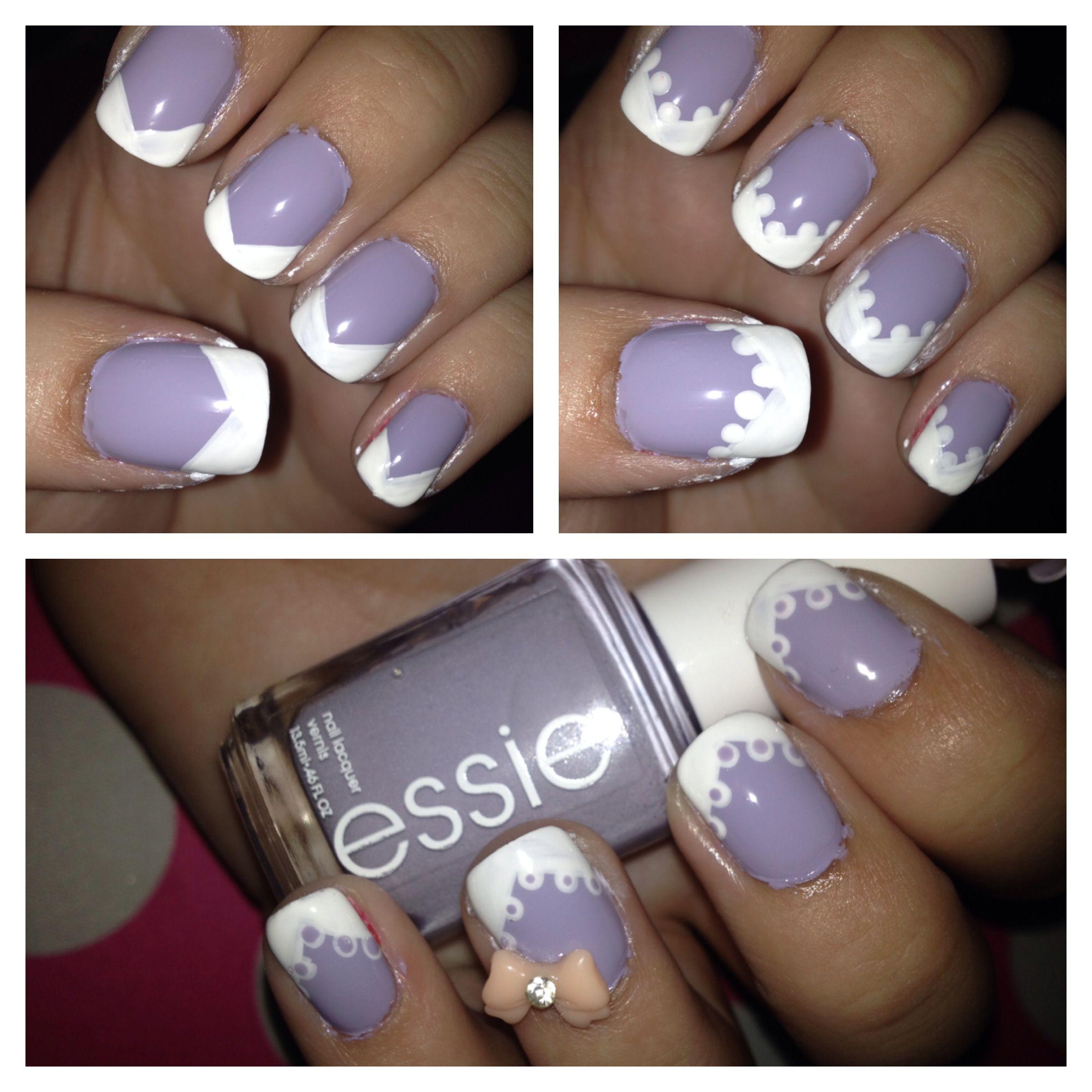 Lace Nail Art Tutorial! 1. Paint nails purple 2. Create a v-shaped ...